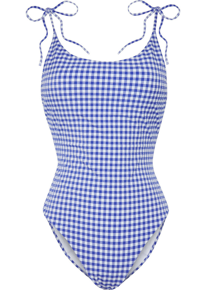 Onia Woman Ginny Gingham Stretch-seersucker Swimsuit Royal Blue