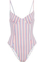Onia Woman Isabella Striped Seersucker Swimsuit Multicolor