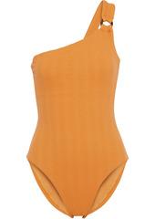 Onia Woman Jenna One-shoulder Ring-embellished Textured Swimsuit Saffron
