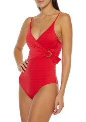 Onia Woman Lila Wrap-effect Stretch-jacquard Swimsuit Tomato Red