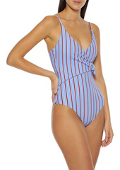 Onia Woman Lila Wrap-effect Striped Ribbed Swimsuit Light Blue