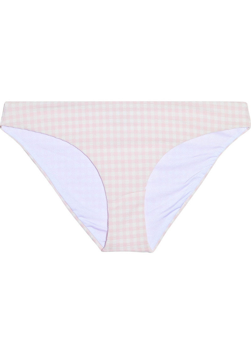 Onia Woman Lily Gingham Seersucker Low-rise Bikini Briefs Pastel Pink