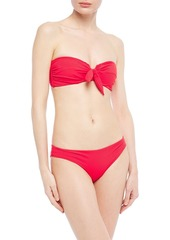 Onia Woman Madeline Knotted Ribbed Bandeau Bikini Top Tomato Red
