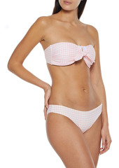 Onia Woman Madeline Strapless Knotted Gingham Seersucker Bikini Top Pastel Pink