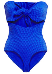 Onia Woman Marie Knotted Cutout Textured Bandeau Swimsuit Royal Blue