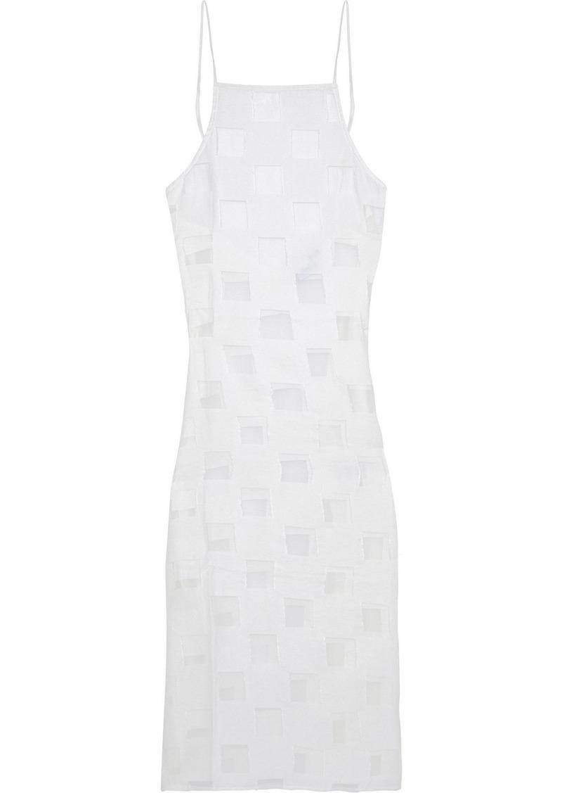Onia Woman Melanie Burnout Crinkled-voile Midi Dress White