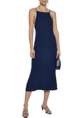 Onia Woman Melanie Open-back Jacquard Midi Dress Navy