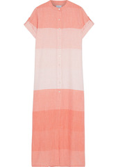 Onia Woman Renee Striped Cotton-gauze Maxi Shirt Dress Coral