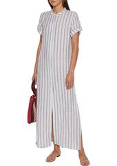 Onia Woman Renee Striped Linen-gauze Maxi Dress Light Blue