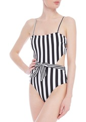 Onia Woman Rumi Belted Cutout Striped Ribbed Swimsuit Black