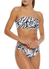 Onia Woman Wilma Laser-cut Zebra-print Bandeau Bikini Top Animal Print