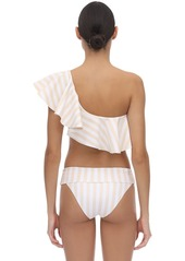 WeWoreWhat Positano Ruffled Striped Bikini Top