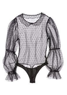 Only Hearts Coucou Lola Annelise Puff Sleeve Mesh Bodysuit
