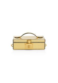 Oscar de la Renta Alibi Lamé Leather Box Clutch