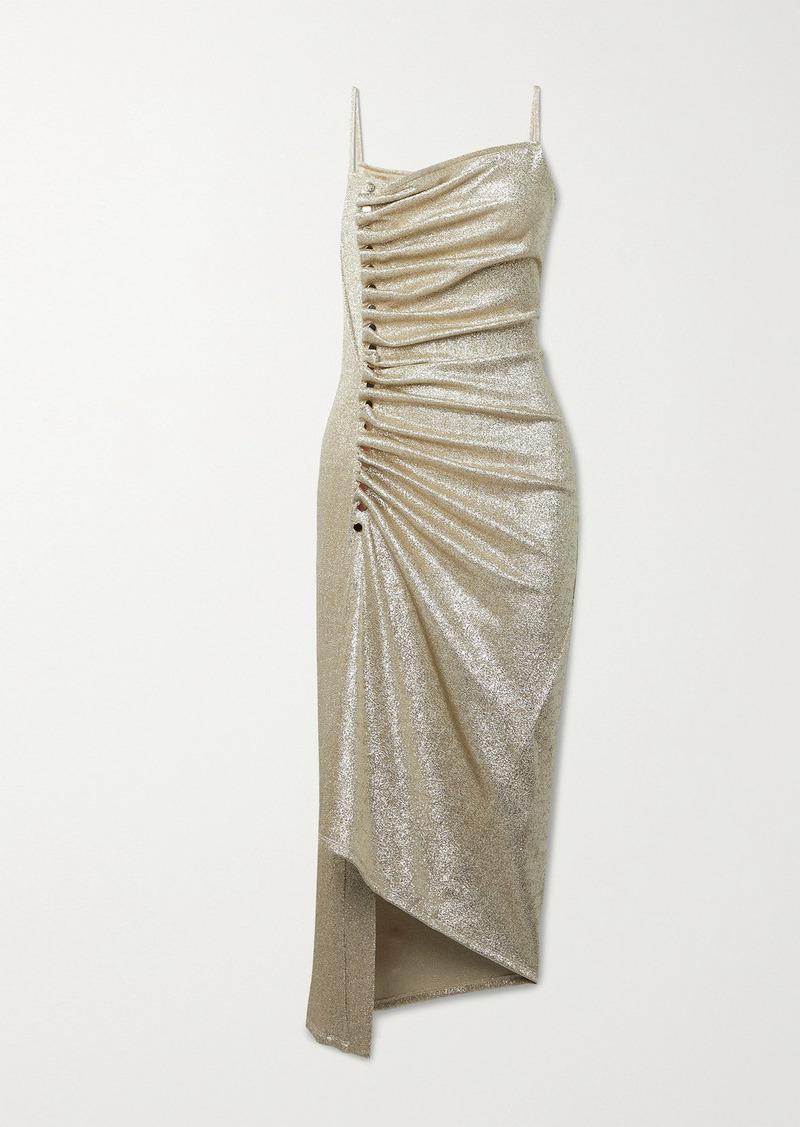 Paco Rabanne Asymmetric Gathered Stretch-lurex Dress