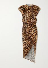 Paco Rabanne Asymmetric Leopard-print Stretch-jersey Midi Dress