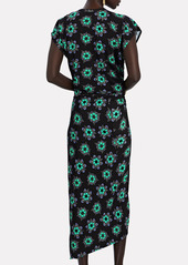 Paco Rabanne Asymmetrical Floral Printed Jersey Dress