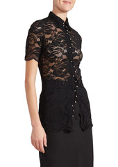 Paco Rabanne Collared Long Lace Blouse