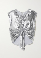 Paco Rabanne Cropped Tie-detailed Sequined Georgette Top