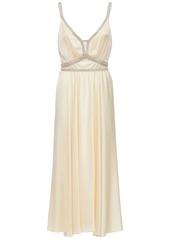 Paco Rabanne Embellished Satin Midi Dress