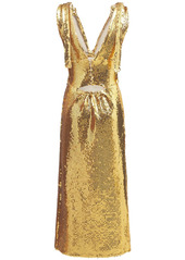 Paco Rabanne Embroidered Jersey Sequined Long Dress