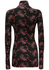 Paco Rabanne Embroidery Stretch Jersey Turtleneck Top