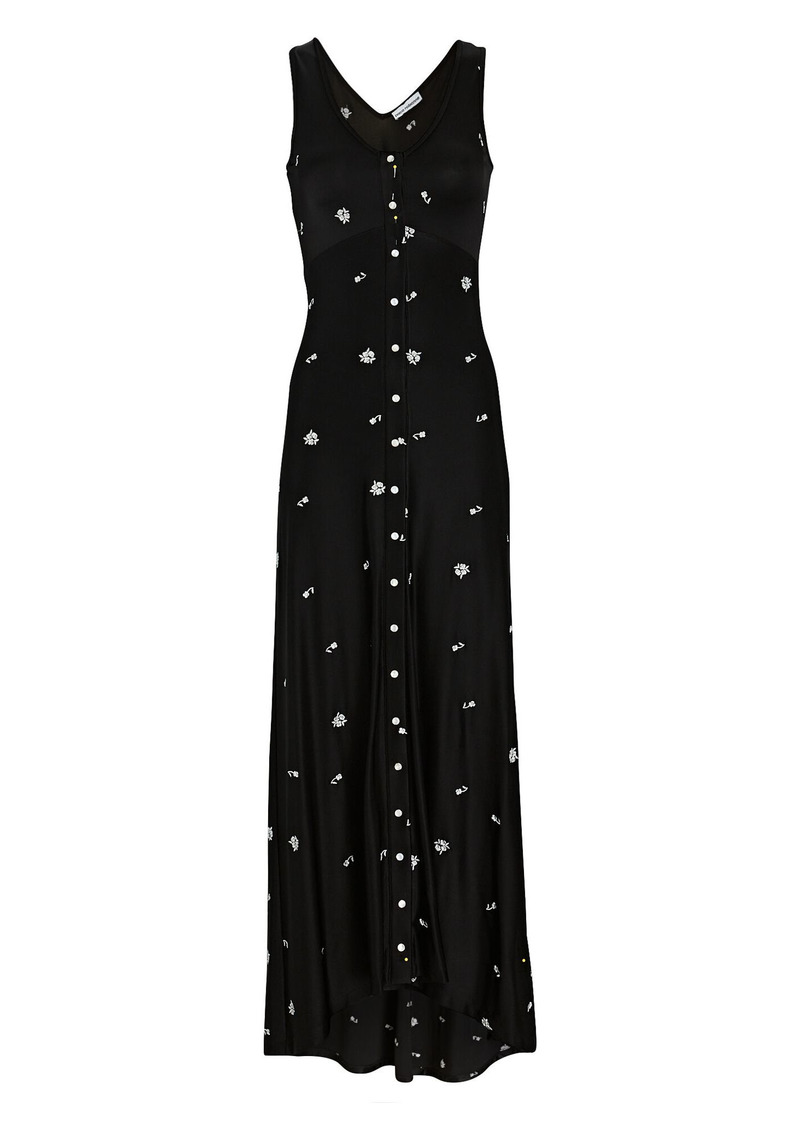 Paco Rabanne Floral Embroidered Crepe Maxi Dress