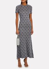 Paco Rabanne Floral Knit Jacquard Midi Dress