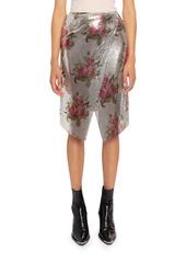 Paco Rabanne Floral-Print Chainlink Aluminum Wrap Skirt