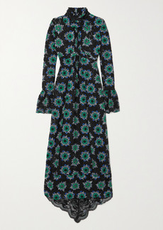 Paco Rabanne Floral-print Lace Turtleneck Maxi Dress