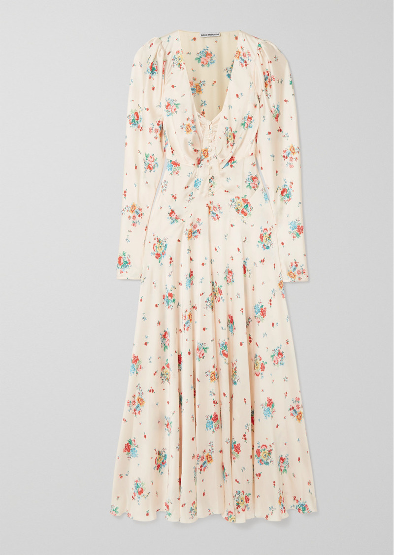Paco Rabanne Floral-print Satin Midi Dress