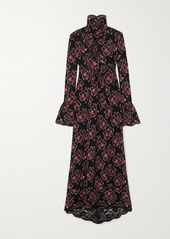Paco Rabanne Floral-print Stretch-lace Maxi Dress