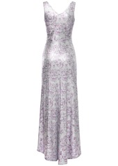 Paco Rabanne Floral Print Viscose Blend Long Dress