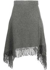Paco Rabanne fringed wool asymmetric skirt