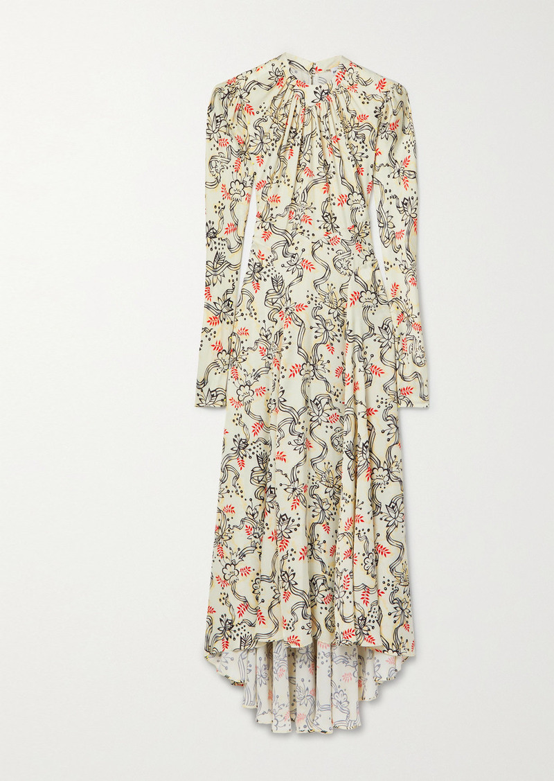 Paco Rabanne Gathered Printed Satin Maxi Dress