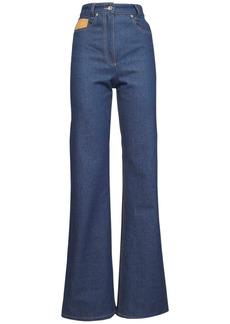 Paco Rabanne High Waist Cotton Denim Wide Leg Jeans