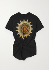 Paco Rabanne Knotted Printed Cotton-jersey T-shirt