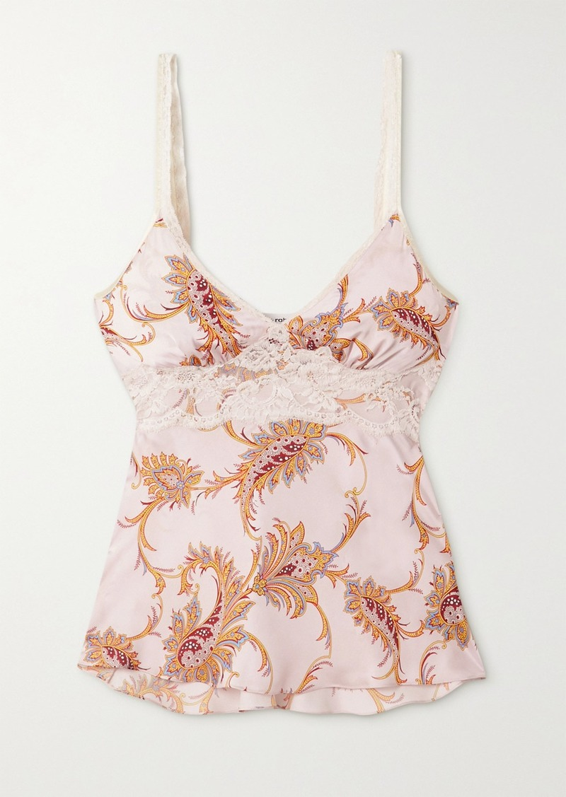 Paco Rabanne Lace-trimmed Paisley-print Satin Camisole