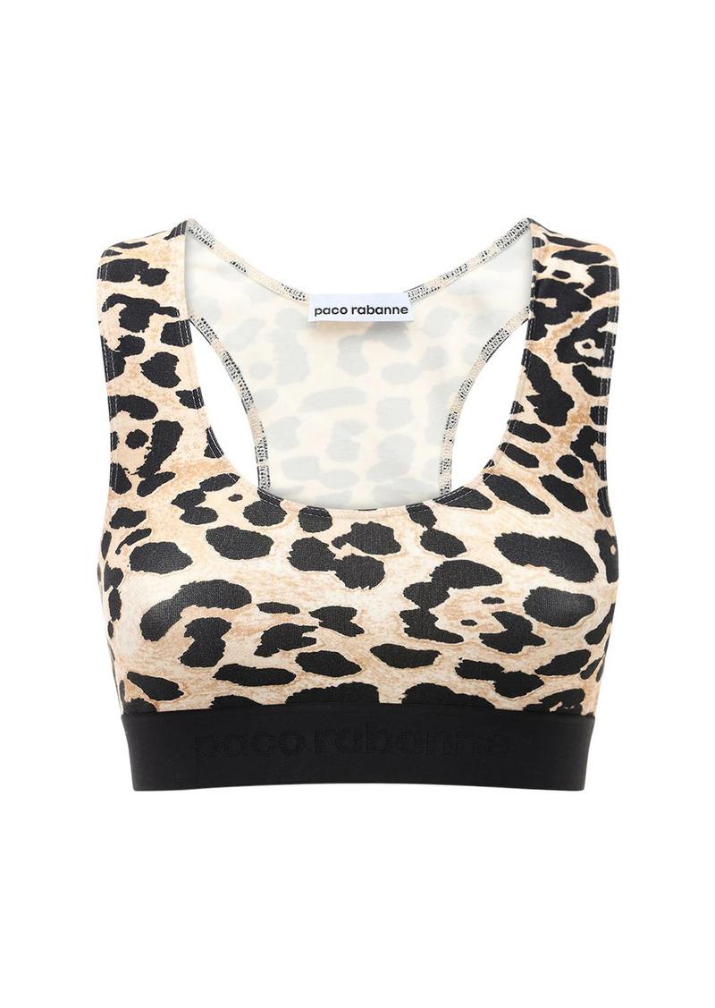 Paco Rabanne Leopard Print Jersey Sport Crop Top
