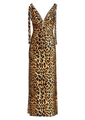 Paco Rabanne Leopard-Print Satin Tie-Strap Midi Dress