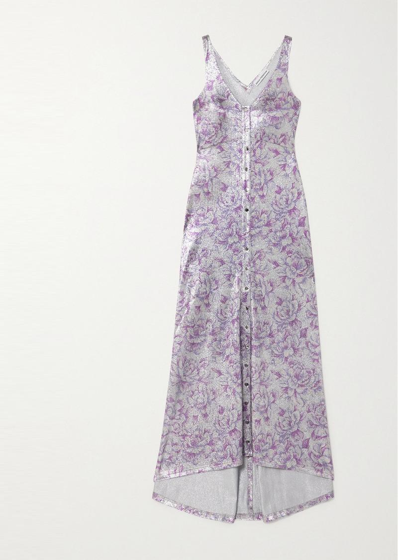 Paco Rabanne Metallic Floral-jacquard Maxi Dress