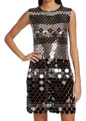Paco Rabanne Metallic Paillette Shift Dress