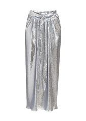 Paco Rabanne Metallic Sequin Drape Midi Skirt