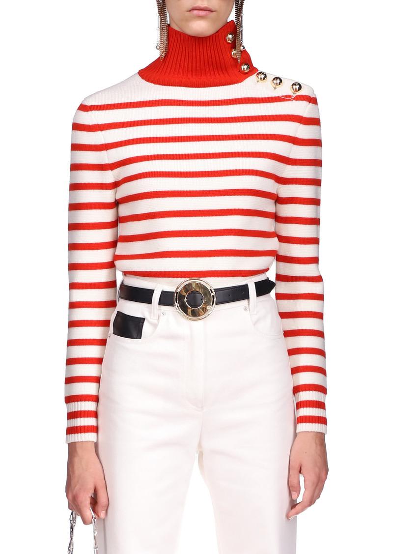 Paco Rabanne - Women's Button-Detailed Striped Wool Turtleneck Sweater - Stripe - Moda Operandi