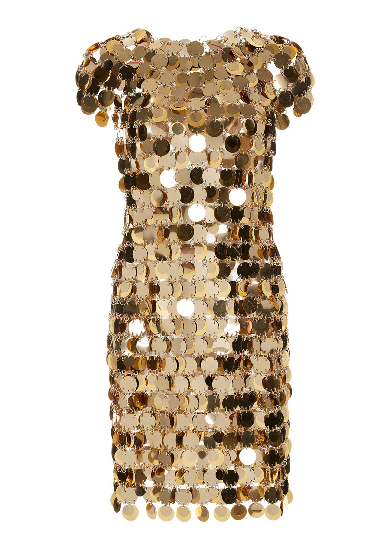 Paco Rabanne - Women's Chain Mail Sequined Mini Dress - Gold - Moda Operandi