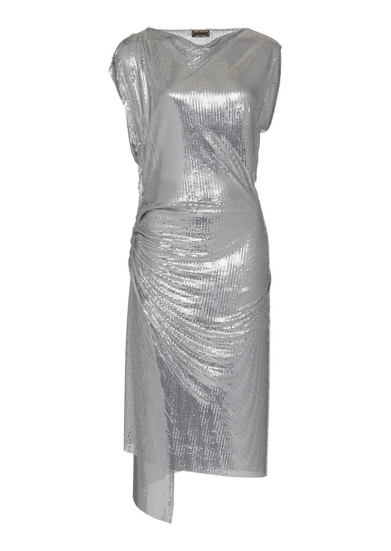 Paco Rabanne - Women's Draped Metallic Midi Dress  - Silver - Moda Operandi