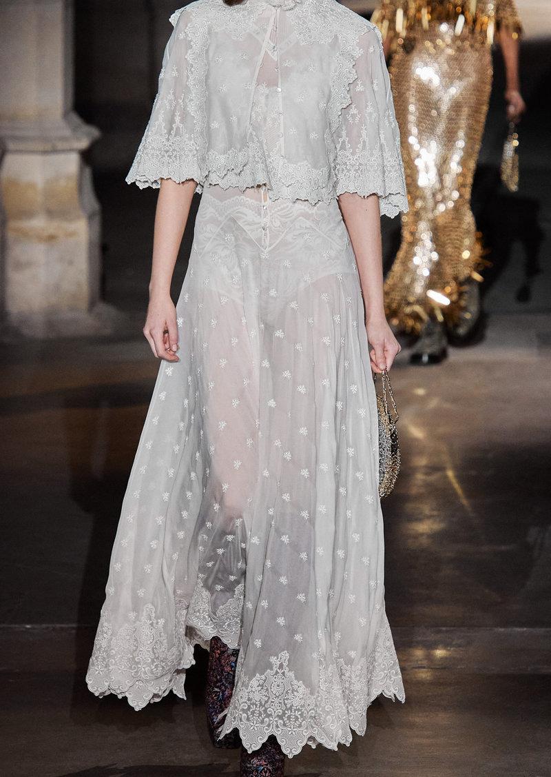 Paco Rabanne - Women's Embroidered Silk Georgette Maxi Dress - White - Moda Operandi