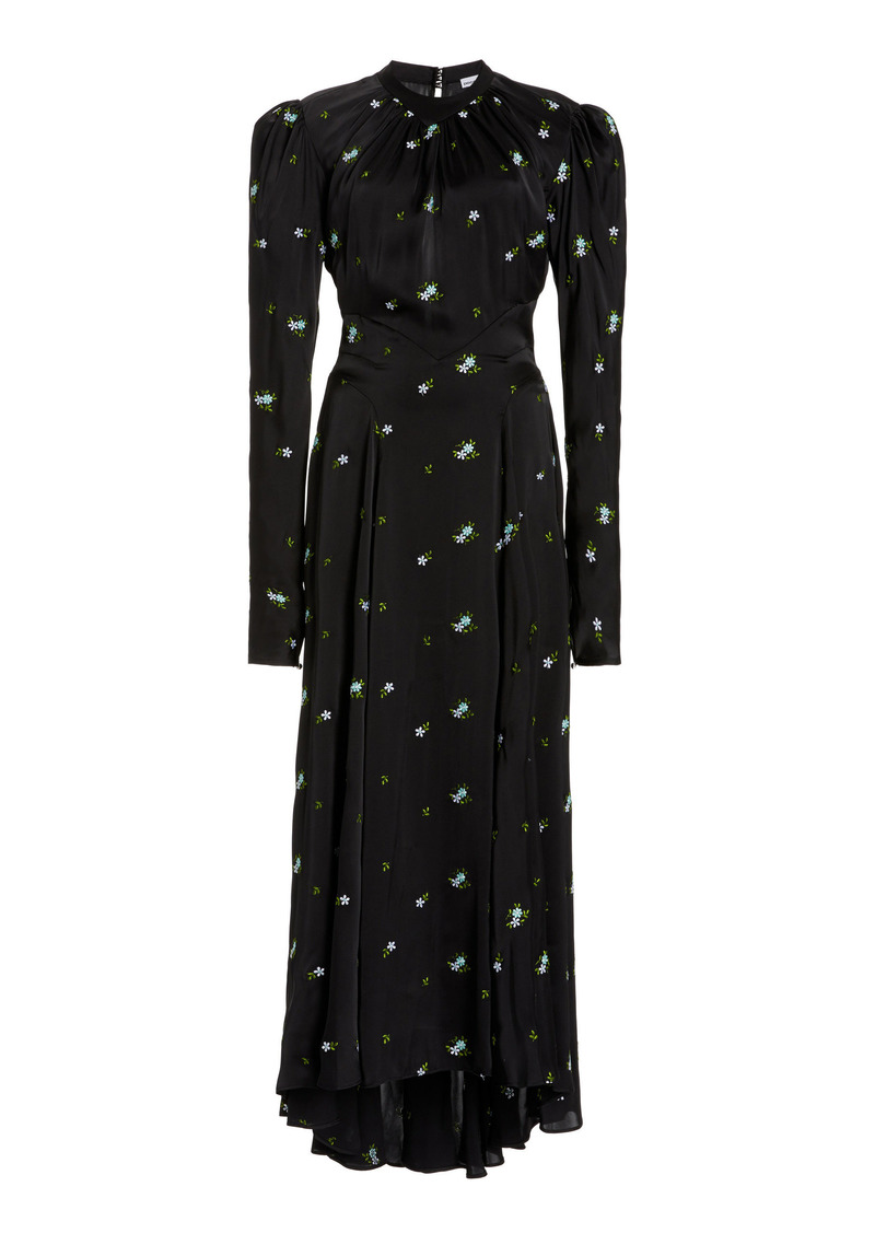 Paco Rabanne - Women's Floral-Embroidered Satin Maxi Dress - Black - Moda Operandi