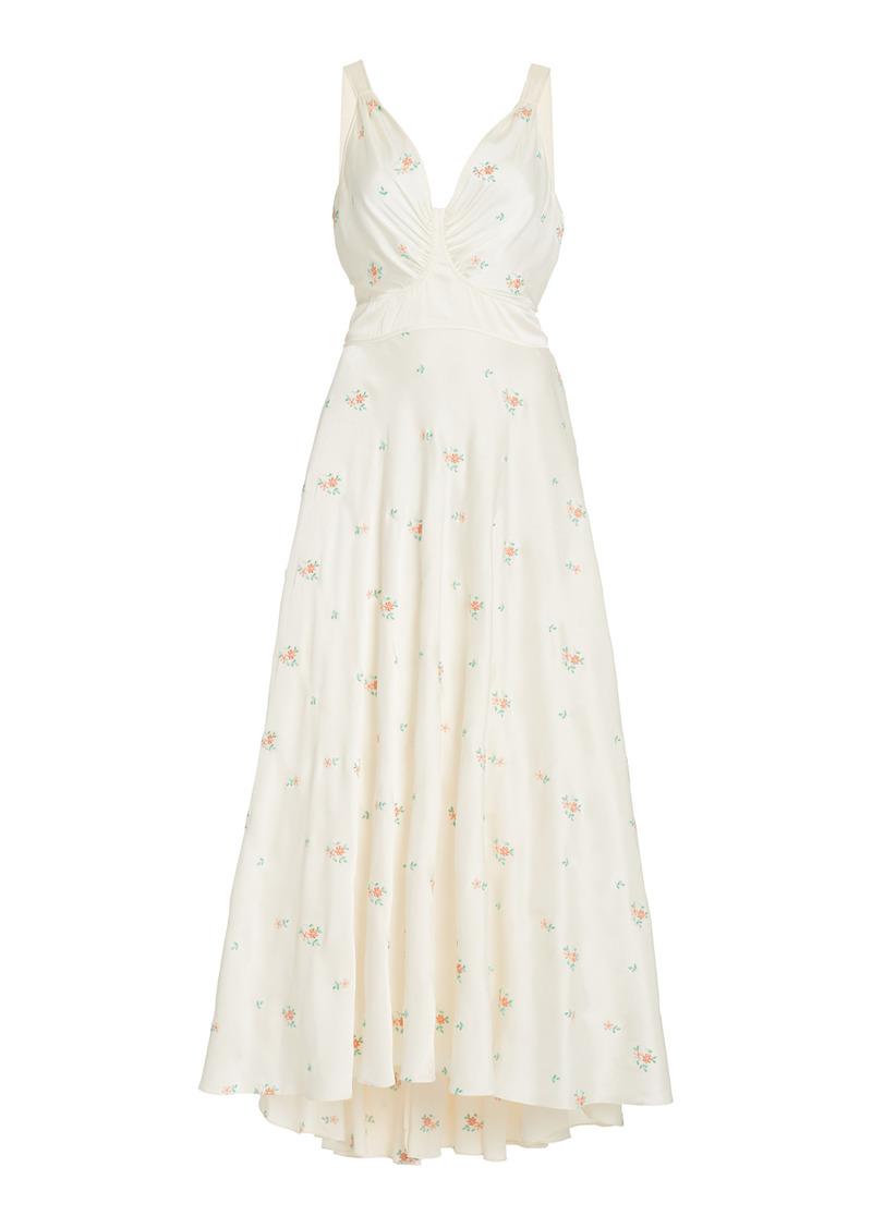 Paco Rabanne - Women's Floral-Embroidered Satin Midi Dress - White - Moda Operandi