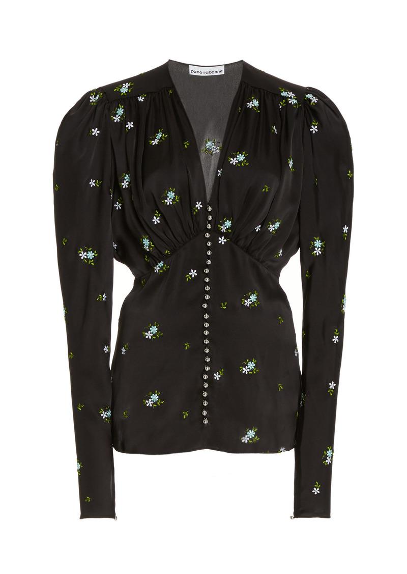Paco Rabanne - Women's Floral-Embroidered Satin Top - Black - Moda Operandi